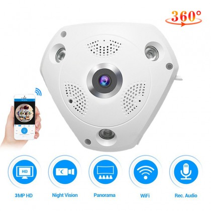 C61S IP Camera 3MP Fish Eye Panoramic 1080P WIFI CCTV 3D VR Video IP Cam Micro SD Card Audio Remote Home Monitoring