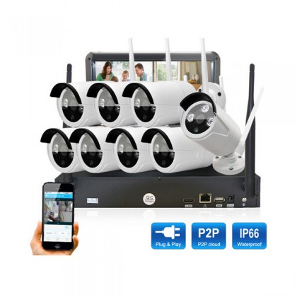 Plug&Play LCD Screen Wireless NVR Security CCTV System 8PCS HD WIFI Camera Home Outdoor IR Video Surveillance Kit
