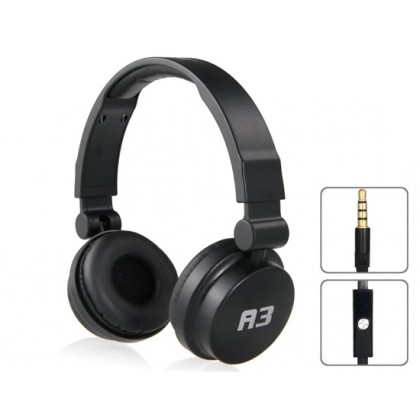 A3 Wired Stereo Headset with Microphone, 3.5mm Plug & 1.1m Cable (Black)