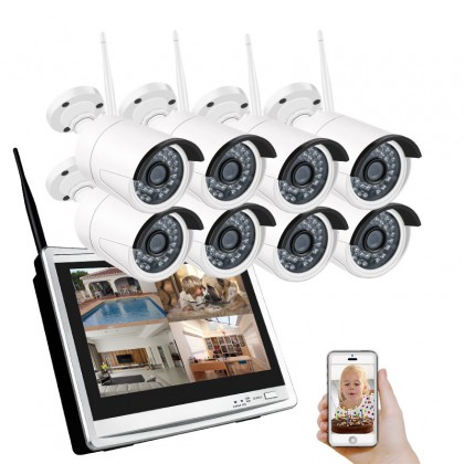 """8CH HD Wireless NVR Wifi CCTV System 12"""" LCD Screen Monitor 1.3MP Outdoor IP66 IP Camera Security Surveillance System"""