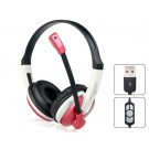 OVLENG Q14 USB On-ear Super Bass Gaming Headphones with Microphone & 1.5 m Cable (Red)