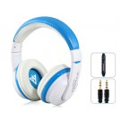 MQ55 3.5mm Plug On-ear Stereo Headphones with Microphone & 1.2 m Cable (Blue)