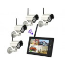 """7"""" TFT 2.4G Wireless Cameras Video Baby Monitors 4CH Quad DVR Security System With IR night light Cameras (White)"""