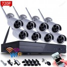 8CH WI-FI NVR Security Wireless Network 720P Night Vision IP Surveillance Camera Security System Smartphone Scan QR Code