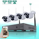 4PCS 1080P Wireless Outdoor IP Camera System Nightvision 4CH Security 1080P HD Network Wifi NVR Kit Smartphone View