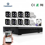 8pcs 1080p Camera POE 8CH NVR Kits CCTV Security Cameras Systems 100M Night Vision Camera