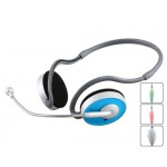 Kanen KM-310 Behind-the-Neck Style 3.5 mm Stereo Headset with Microphone, Volume Control (Blue)